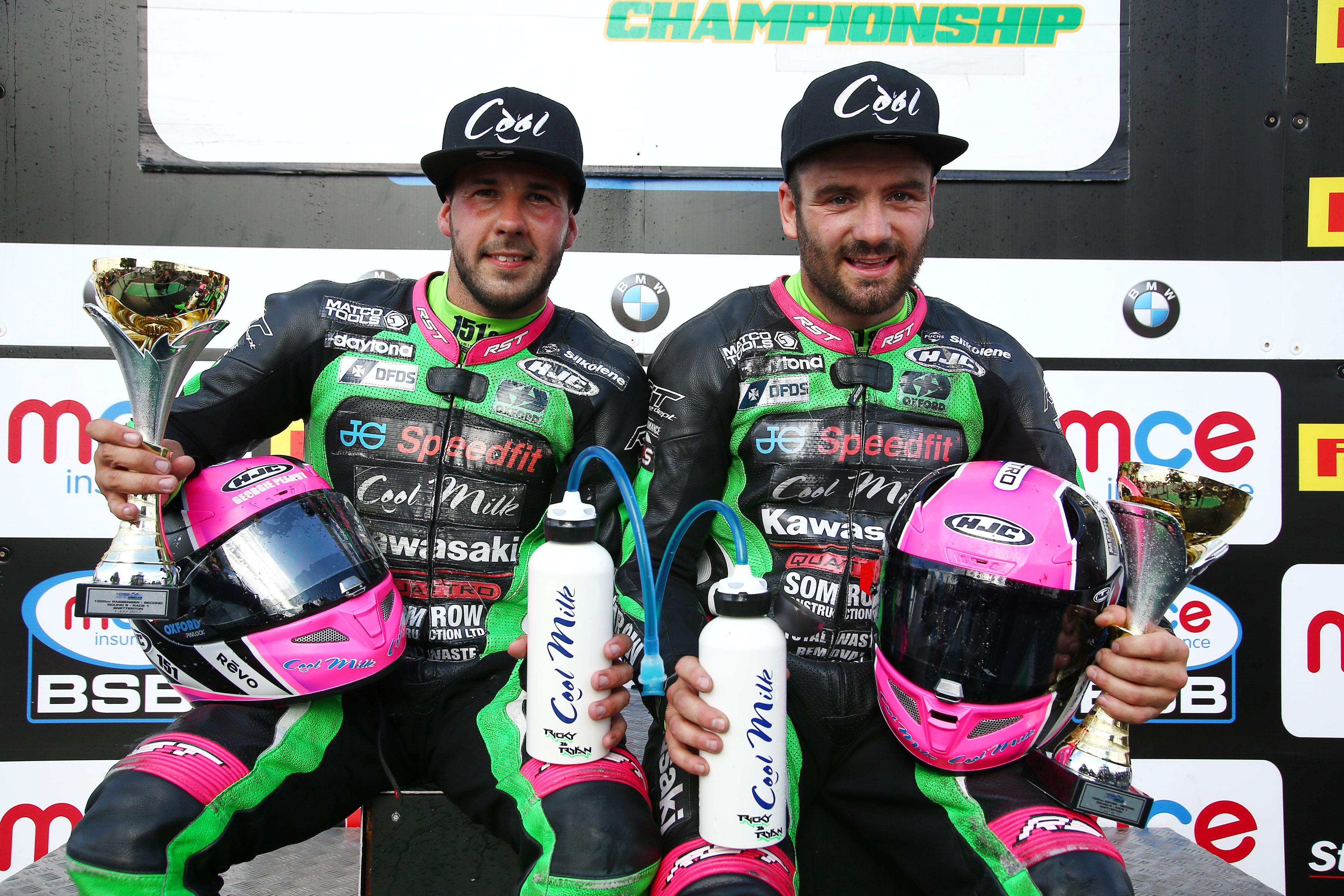 2017 British Superbike Championship, BSB R05, Snetterton, Norfolk, UK. 1st July 2017. Ricky Stevens & Ryan Charlwood, JG Speedfit Cool Kawasaki, LCR Kawasaki