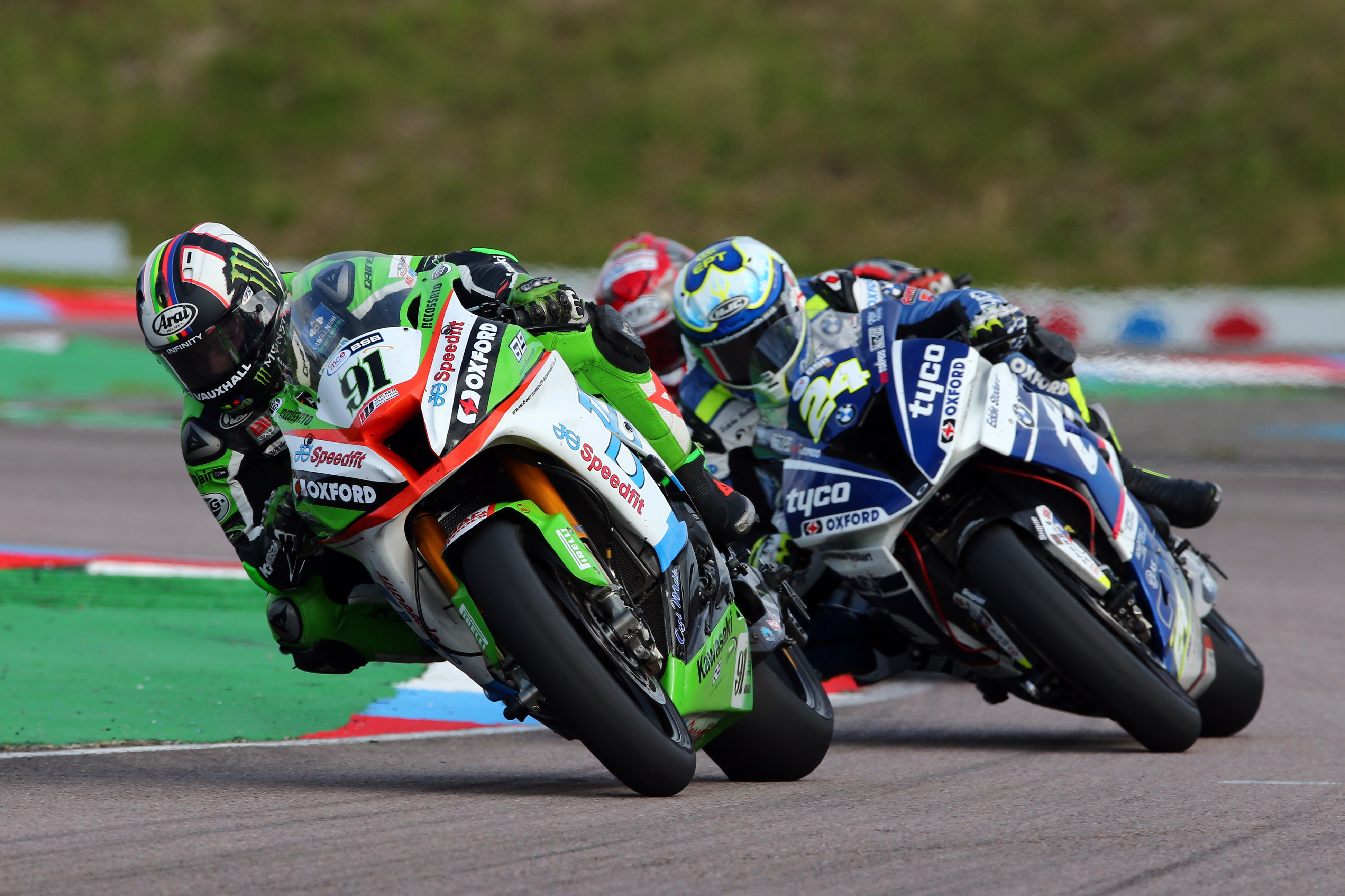2017 British Superbike Championship, BSB R07, Thruxton, Hampshire, UK. 6th August 2017. Leon Haslam, Smalley, JG Speedfit Kawasaki takes 3rd in race 2